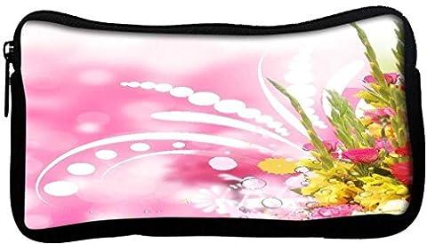 snoogg Floral Border d'angle avec troublés Fond en toile étudiant Stylo Crayon cas sac de maquillage Porte-monnaie Pochette utilitaire