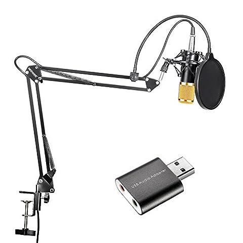 Neewer Kit de Microphone à Condensateur Or de Studio Radiodiffusion Enregistrement et Bras de Suspension à Ciseaux Réglable Support avec USB 2,0 Stéréo Externe Adaptateur de Carte Son pour Ordinateur Windows et Mac