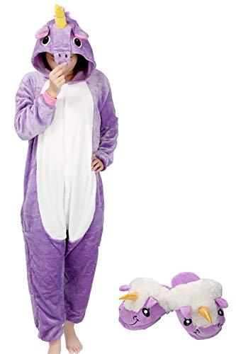 Kigurumi Pyjama Animaux Adulte Unisexe Ensemble de Pyjama Cosplay Costume Combinaison Soirée de Déguisement (M, Violet-Chausson)