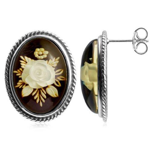 Bernstein Sterling Silber Blume Oval - Silber Oval Ohrringe