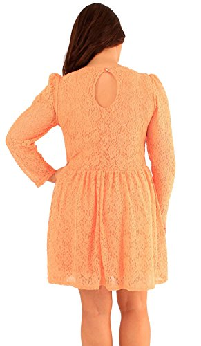 Neuer Frauen Blumenspitze-Hauch-langärmligen Skater Ausgehen Kleid 46-52 Orange