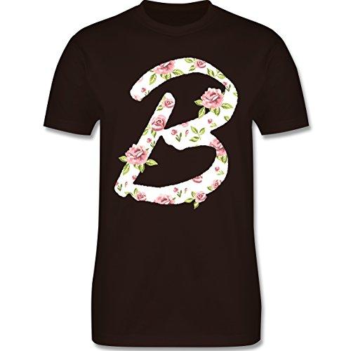 Anfangsbuchstaben - B Rosen - Herren Premium T-Shirt Braun