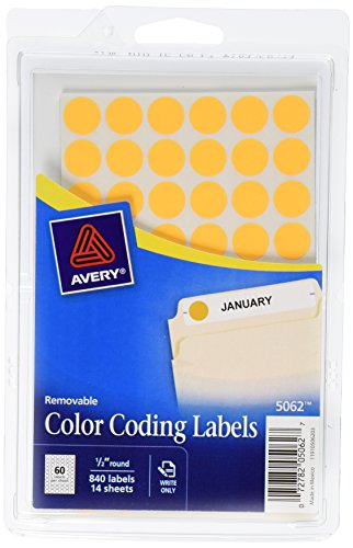 Removable Self-Adhesive Color-Coding Labels, 1/2in dia, Neon Orange, 840/Pack