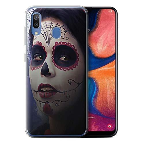 eSwish Gel TPU Hülle/Case für Samsung Galaxy A20e 2019 / Halloween Bilden Muster/Tag Der Toten Festival Kollektion (Toten Der Tag Halloween-2019)