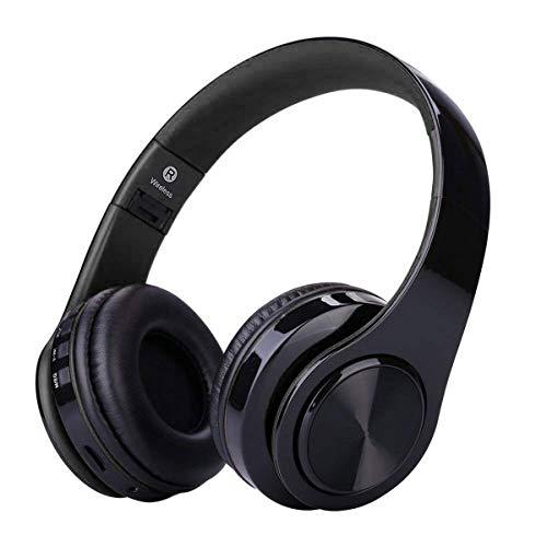Cuffie Bluetooth Senza Fili con Microfono, ZLX Pieghevole Over-Ear Wireless Bluetooth headphones per iPhone/iPad/LG/Samsung/Galaxy/Sony/Huawei/Altri Telefoni e PC(Nero)