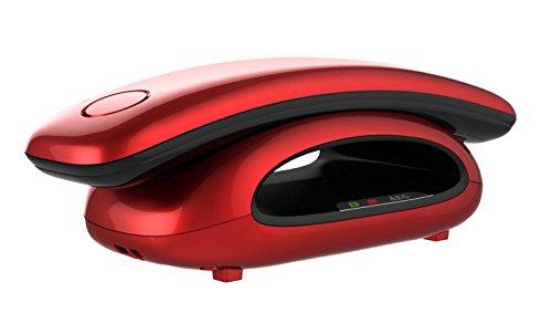 AEG Solo 10 – Schnurloses 1.6″ Design DECT-Telefon mit Freisprecheinrichtung im Mobilteil – Rot