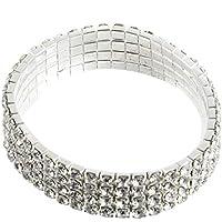 3/4/5 Filas Encantador Stretchable Clear Rhinestone Crystal Bridal Bangle Wedding Bridal Jewelry Bangle