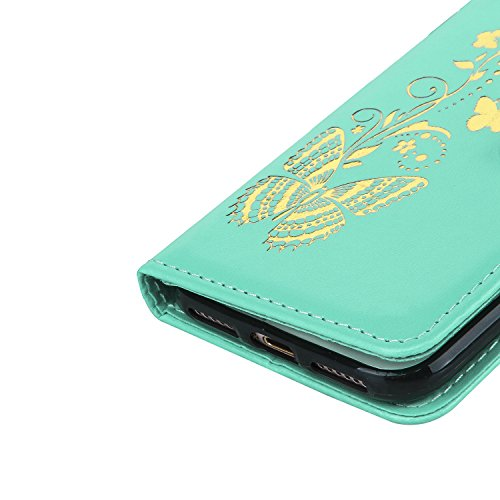 CaseHome Etui iPhone 7 4.7 Inch PU-Leder Etui Hülle Metall-Effekt Golden Gedruckt Muster Buch Entwurf (Mit freiem HD Schirm-Schutz) Folio Magnetischer Flip Abnehmbar mit Karten-Slot-Halter und Tragesc Grün