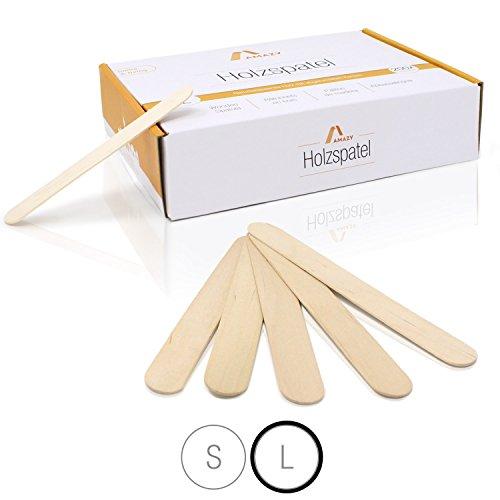Amazy Holzspatel (200 Stück) - Naturbelassene Holzstäbchen ideal für Eis am Stiel, Waxing und Basteln (Groß | 150 x 18 mm)