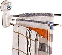 Drake Rotating Towel Rack bar Bathroom Kitchen Towel 180 Degree Three Arm Stainless Steel Towel, Small Utensil, Cleaning utilities Towel Bar Polished Rack Holder – Multi Color