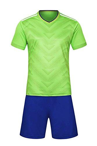 ZEVONDA Modisch Jungen und Männer Fußball Training Kit 2 Stück Kurzarm-Shirt + Shorts Trainingsanzug (Height:120-130, Grün) -