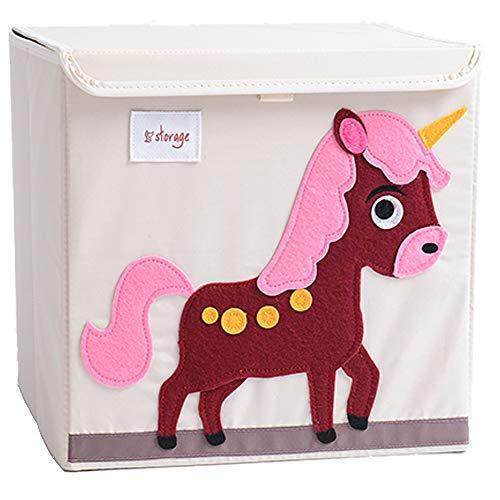 Tsingle scatola porta oggetti con coperchio, per bambini, pieghevole, in tela, con personaggio in stile cartone animato, grande, a cubo, per vestiti, scarpe, giocattoli, 33 x 33 x 33cm (36l) - unicorn