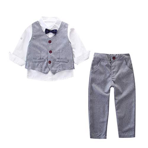 MRULIC Baby Junge Bowtie Gentleman Weste T-Shirt Hosen Hochzeit Anzug Tuch Sets(C-Grau,Höhe:90-100cm) (Kleinkinder Für Halloween-t-shirts)