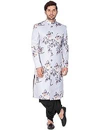 Vastramay Men Cotton Blend Sherwani Set (Lavender Grey_VASMSW015nCDBL)