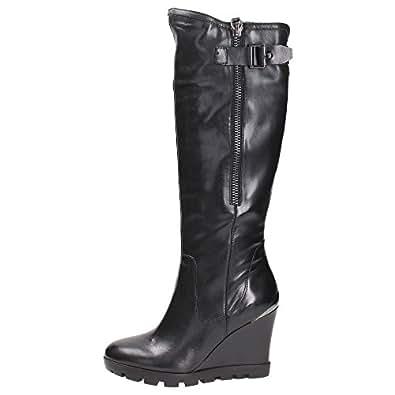 Guess Femmes Boot Landa boot Leather Wedge Cm 9 Plateau Cm 2 Fermeture Eclair FL6LANLEA11 BLACK,39