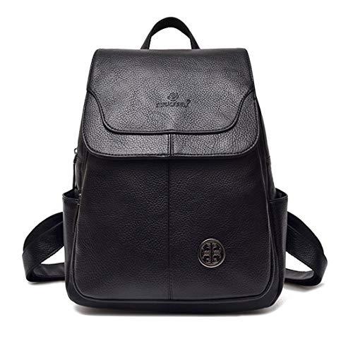 FUBULE Damen Rucksack PU Leder Rucksack Damen Tasche mit Doppeltem Verwendungszweck Diagonal Paket Schwarz