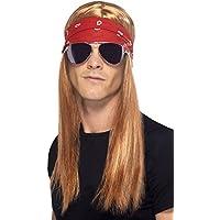 Smiffys Herren 90er Jahre Rocker Kit, Perücke, Stirnband und Sonnenbrille, Rot-Blond, One Size, 22405