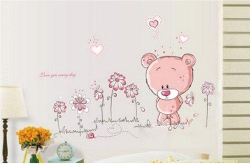 Walplus – Adesivi da parete con orsacchiotto per decorare la cameretta dei bimbi, 50 x 70 cm - 3