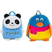 Frantic Velvet Kids School/Nursery/Picnic/Carry/Travelling Bag - 2 to 5 Age (SkyBluePanda_Penguin)