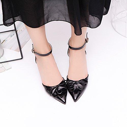 Lgk & Fait Des Sandales D'été Xia Pointues Avec Bandoulière Latérale Air Sandales Des Pieds Chaussures D'anneau Avec Talon Chaussures Féminines Noir