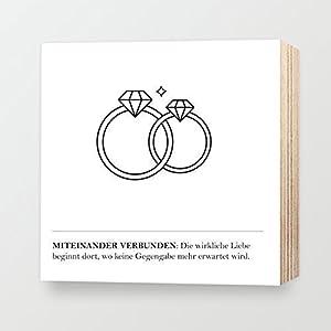 Miteinander verbunden ❤️ Hochzeitsantrag Hochzeitsgeschenk Ringe Diamant Brillant Liebe Brautpaar Lebensweisheit Romantik ❤️ personalisierbarer individueller Druck mit Spruch auf HOLZ 15x15cm schwarz-weiß shabby-chic - Wandbild Dekoration Aufsteller Geschenk Geschenkidee Typografie Kunstdruck