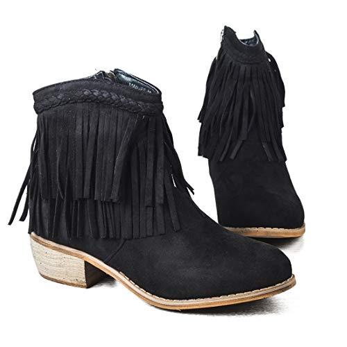 Botines Mujer Tacon Botas Chelsea Elegante Boots con Flecos Zapatos de Vistir Cortos Comodos Fiesta...