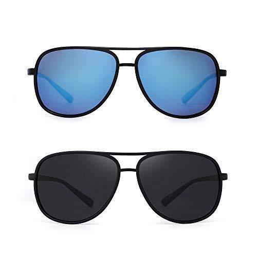 JM Retro Polarisiert Flieger Sonnenbrille Spiegel Leicht Gewichts Brille für Damen Herren 2 Stück(Blau&Grau)
