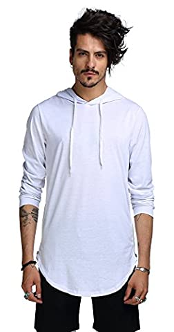 Whatlees Mens Hip Hop Extra Long Design Solid Long Sleeve