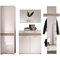 Furnline Mezzo High Gloss Rough Cut Hallway Furniture Wardrobe Set, Light  Oak