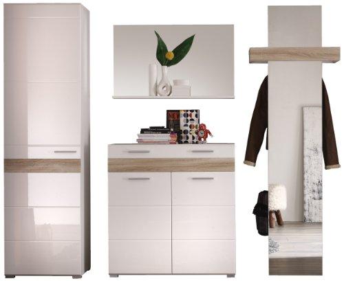 trendteam Garderobe Garderobenschrank Schrank Mezzo, 55 x 195 x 38 cm in Weiß Hochglanz, Absetzung...