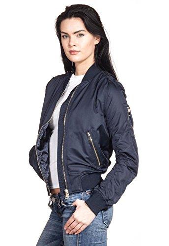 Bomberjacke Pilotenjacke Fliegerjacke Damen Koko Jacke Reißverschluss Gold Retor Daunenjacke Stehkragen Fashion