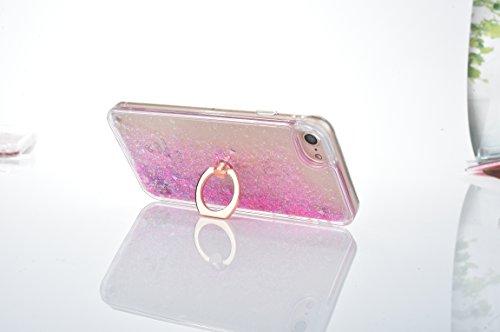 Voguecase Für Apple iPhone 7 4.7 Hülle, Flüssig Fließende Sparkly Bling Glitzer Treibsand Quicksand (Harte Rückseite) Hybrid Hybrid Hülle Soft Edge Schutzhülle Case Cover (Glühen/Treibsand/QQ Ausdruck Ring-Bracket/Diamant Treibsand/Pink