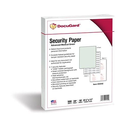 DocuGard Medizinisches Sicherheitspapier zum Bedrucken von Rezepten und zur Verhinderung von Duplikationen und Betrug Fortgeschritten, 7 Merkmale 500 Sheets grün