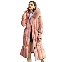Extra-Long Thick Down Jacket, Warm Loose Jacket Modieuze Hooded Waterproof Ultra-Lightweight Jacket Ski Jacket Warmte van de winter, Snow Mountain Down Jacket,Pink,XXL