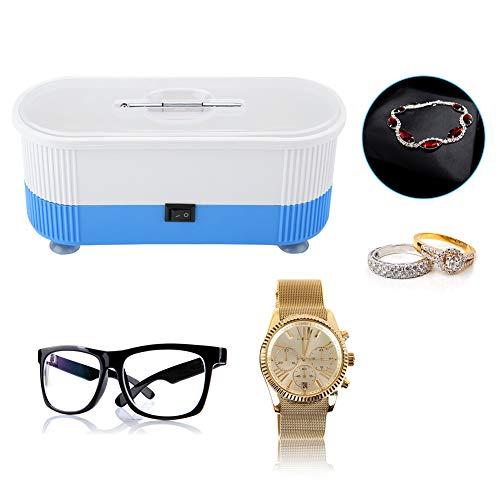 Ultraschallreiniger, Ultraschallbad Reinigungsgerät für Brillen Schmuck Wasserdicht Uhren Zahnprothesen, Digital Putzmaschine Cleaner Reiniger mit Korb für zuhause(Blau)