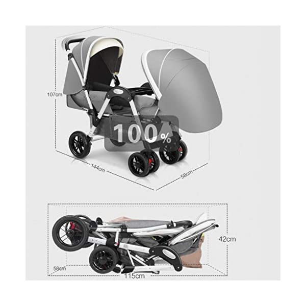 Pushchairs Twins Baby Stroller Fold Babys Newborn Double Face to Face Trolley Reclining Can Sit and Folding Baby Pram Prams (Color : Blue) YC electronics Connect Tandem Pushchair. Rear seat is suitable for new-borns as it features full lie flat mechanism, whereas the 2-position recline seat at the front is suitable for babies over 6 months. Convenient one-hand standing fold, featuring an automatic storage latch that folds effortlessly, Maximum weight capacity is 25 Kg. 2