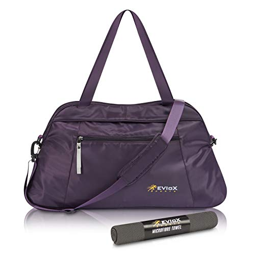 EVIoX Sporttasche für Damen, Sporttasche, Yoga, Sporttasche, mit Mikrofaser-Handtuch, Reisetasche für Wochenende und Damen, perfektes Set für Jede sportliche Aktivität. Medium.
