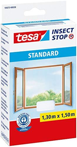tesa Insect Stop STANDARD Fliegengitter für Fenster - Zuschneidbares Moskitonetz - Mückenschutz ohne Bohren - Fliegen Netz weiß, 130 cm x 150 cm
