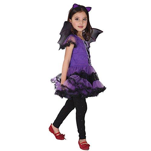 Kleinkind Bat Kostüm - Halloween Kostüme für Kinder Kleinkind Kinder Baby Mädchen Halloween Kleidung Kostüm Kleid + Haarband + Bat Wing Outfit