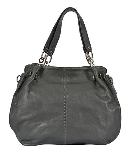 ELLE Handtasche Damenhandtasche Henkeltaschen Echtes Leder Made in Italy (Tasche Elle)