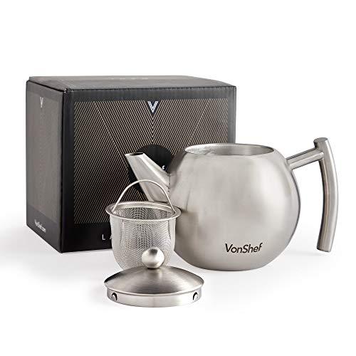 Vonshef teiera con infusore in acciaio inox lucido satinato, media 700ml