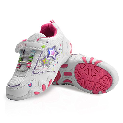 diMio -Star 2- Kinderschuhe mit Blinkfunktion in weiß/pink, Größe EU 25-31 (EU 29)