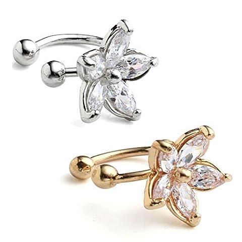 JOVIVI 2pc Women Silver Gold Flower Cubic Zirconia Ear Wrap