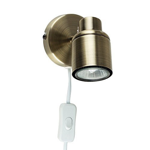 modern-antique-brass-effect-single-adjustable-ceiling-wall-spotlight-with-practical-plug-cable-and-s