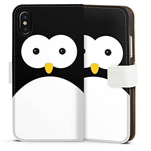 Apple iPhone 5 Tasche Hülle Flip Case Pinguin Tiere Cute Sideflip Tasche weiß