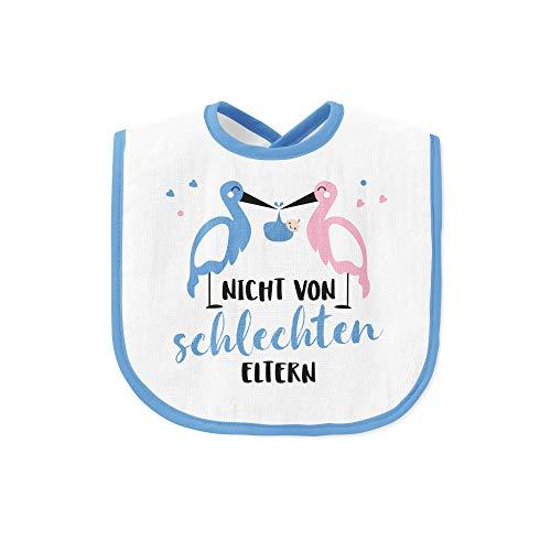 Tassenbrennerei Lätzchen Nicht von schlechten Eltern - Babylätzchen als Geschenk zur Geburt vom Baby - Jungen/Mädchen Farbe wählbar (Blau)