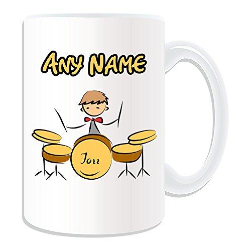 Personalisiertes Geschenk–Große Trommel Set Tasse (Sport und Hobby Design Thema, weiß)–alle Nachricht/Name auf Ihre einzigartige–Musik Kit Drummer Jazz Sticks Band Rock Musical Instrument Player