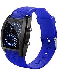 YWHY Relojes Relojes De Pulsera para Hombres Reloj Deportivo con Luz Led Turbo Velocímetro Velocímetro Dial