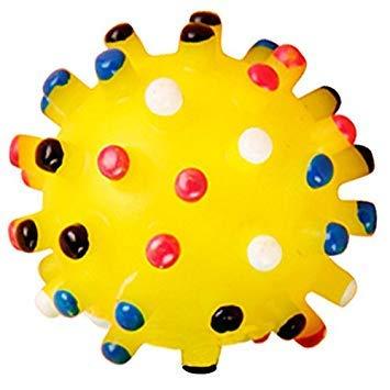 SODIAL(R) Hund Gelber Ball Gummi Quietsches Spielzeug -