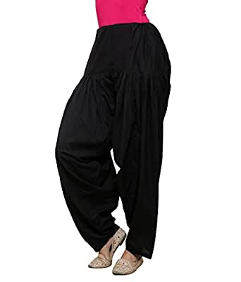 LuvCare 100% Pure Cotton Patiala Salwar With Knotting(Black)
